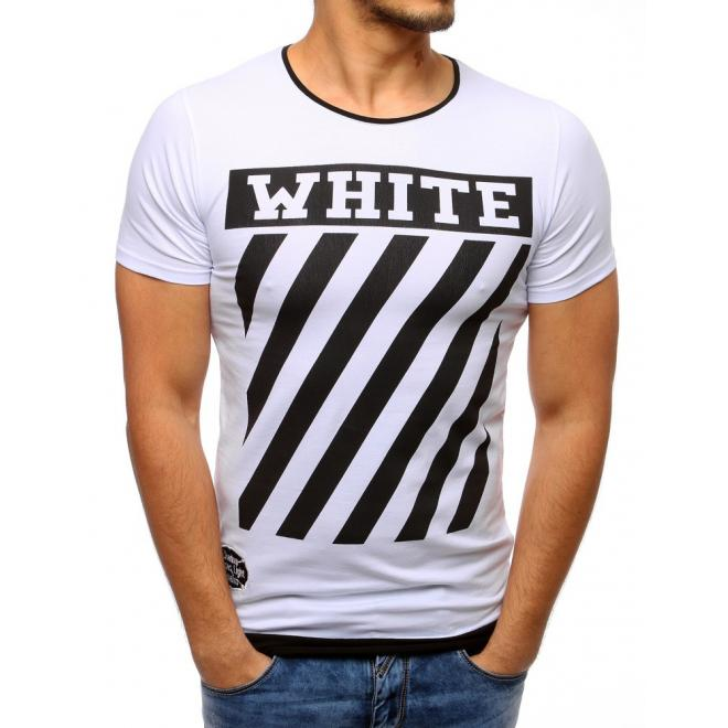 9be5e2a2890d Bavlnené pánske tričko bielej farby s čiernou potlačou - skvelamoda.sk