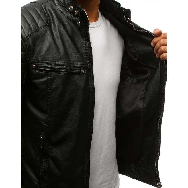 Kožená bunda čiernej farby s prešívanými prvkami