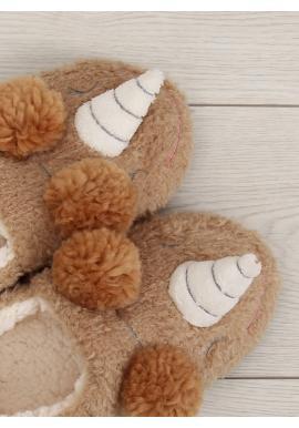 Plyšové dámske papuče bordovej farby s kožušinou