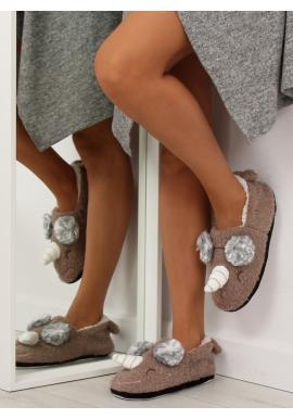 Plyšové dámske papuče béžovej farby s rohom a ušami