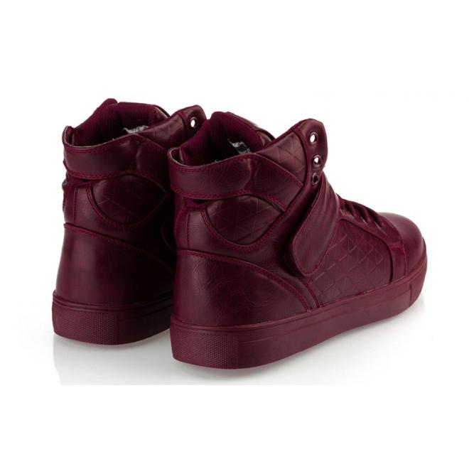 Pánske šnúrovacie Sneakersy so suchým zipsom bordovej farby