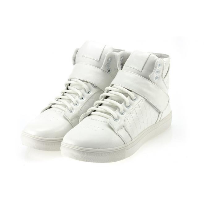 Pánske biele Sneakersy so suchým zipsom a šnúrovaním