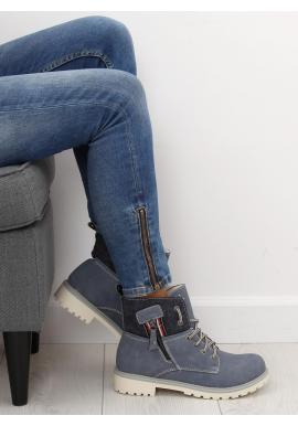 Sivé módne Workery s ozdobným zipsom pre dámy