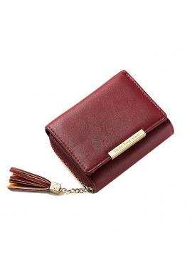Dámska malá peňaženka so strapcami v zelenej farbe