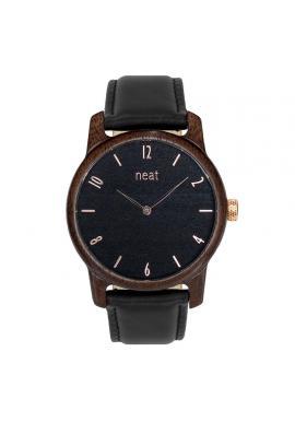 Hnedo-sivé drevené hodinky s koženým remienkom pre pánov