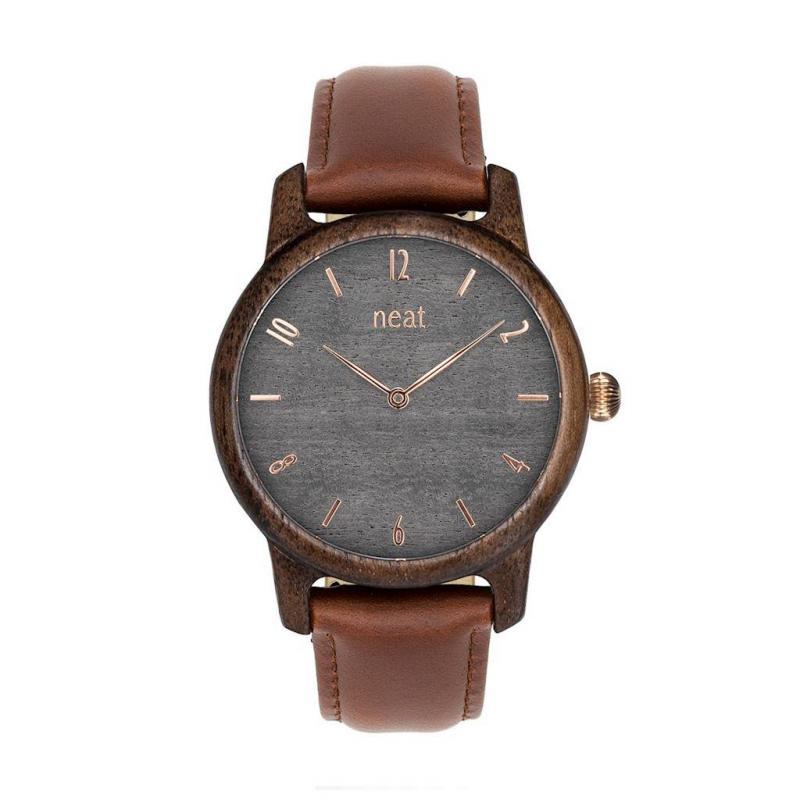 16d909f64488 Drevené dámske hodinky hnedo-sivej farby s koženým remienkom ...
