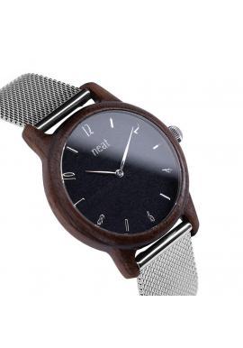 Drevené dámske hodinky sivo-zlatej farby s kovovým remienkom