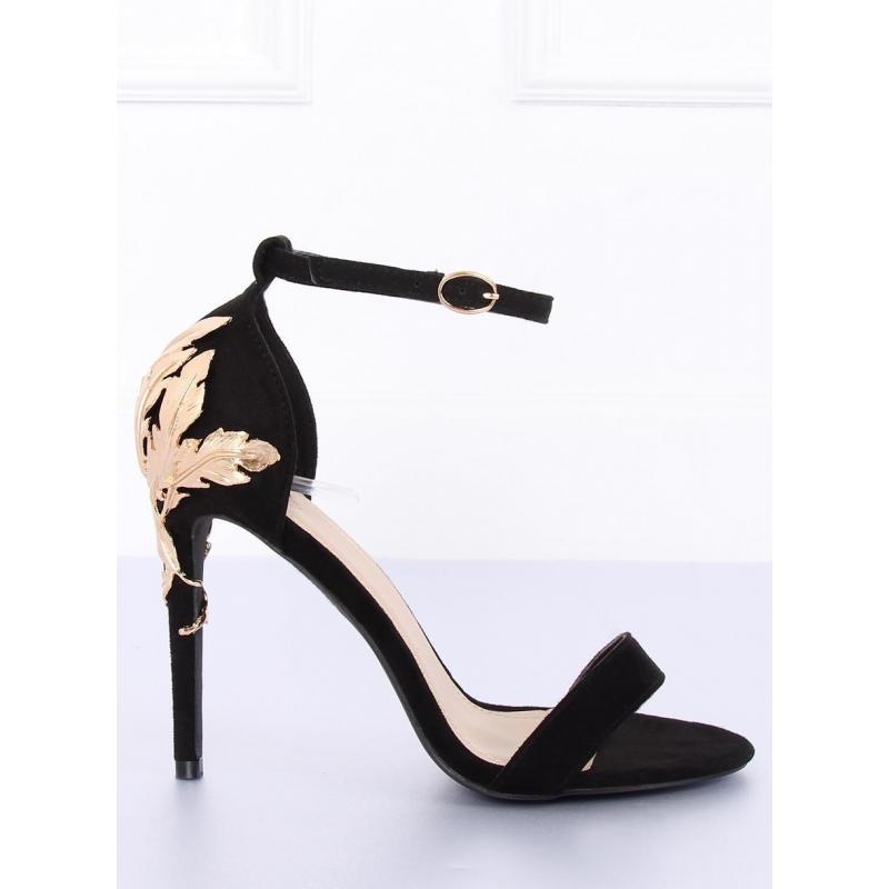 be6bfa55e6 Dámske sandále na podpätku so zlatou ozdobou v čiernej farbe ...