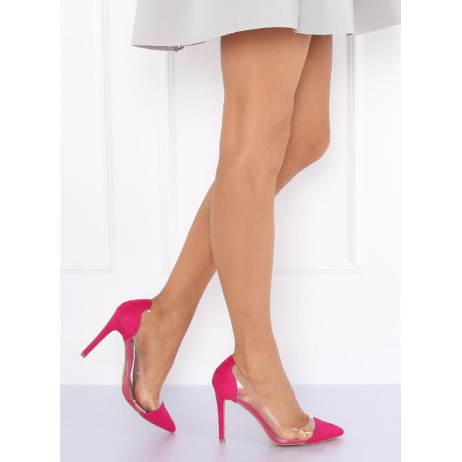 d5591c0ea608 Semišové dámske lodičky ružovej farby s priesvitnými bokmi ...