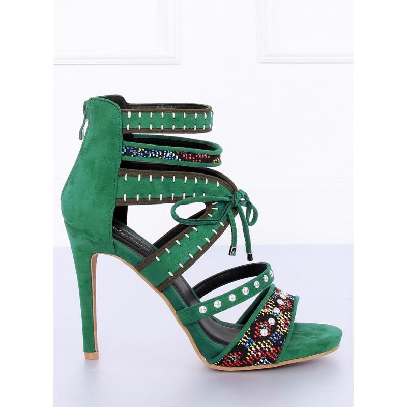 Zelené semišové sandále na podpätku s ozdobnými prvkami pre dámy ... 8a45e6344f