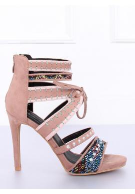 ca6ce90f61536 Zelené semišové sandále na podpätku s ozdobnými prvkami pre dámy ...