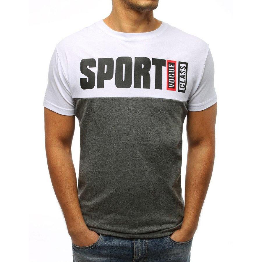 6ba32051cd5b Pánske štýlové tričko s potlačou v bielo-sivej farbe - skvelamoda.sk