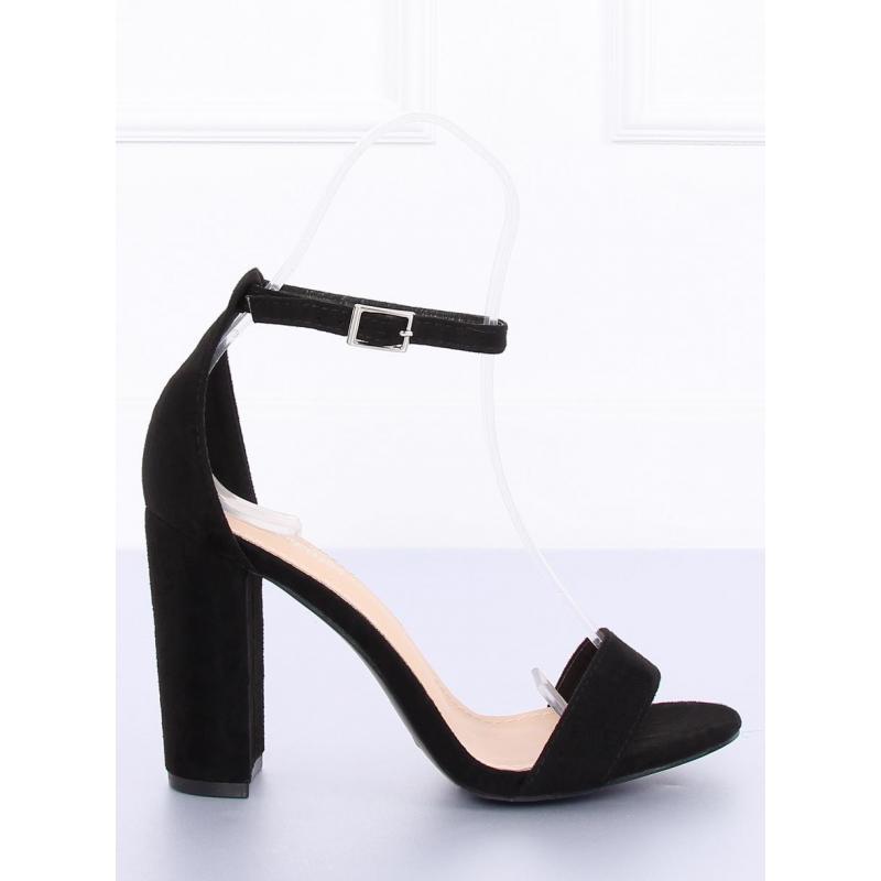 a560e08a7 Semišové dámske sandále modrej farby na podpätku s ozdobnými prvkami
