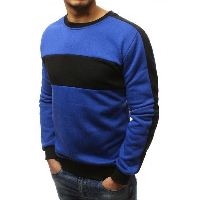 Modrá štýlová mikina s kontrastnou vložkou pre pánov - skvelamoda.sk 9856ee35707