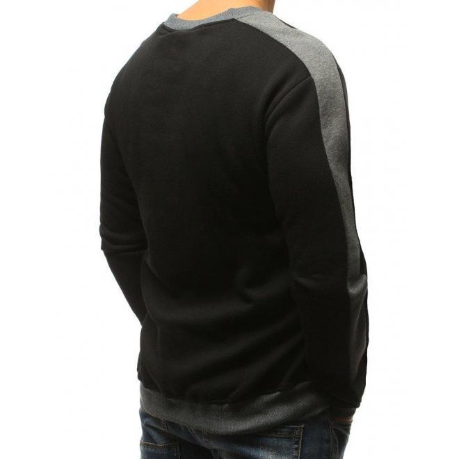 Štýlová pánska mikina čiernej farby s kontrastnou vložkou ... 1c1548e45b0