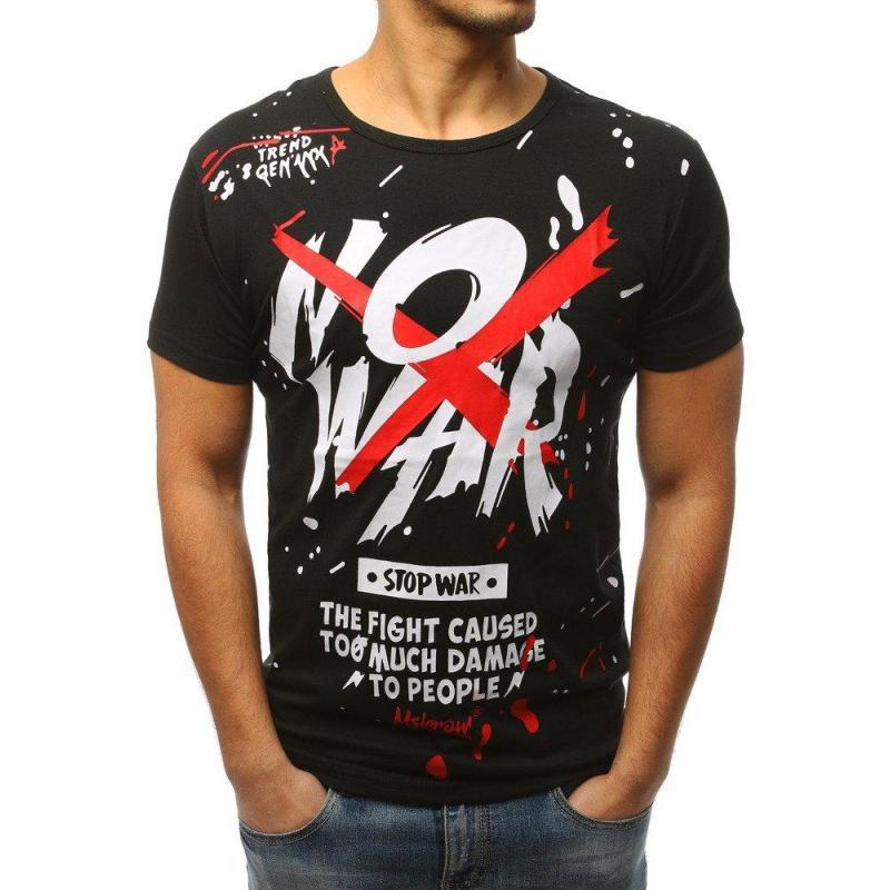 807300f33e02 Pánske štýlové tričko s potlačou v čiernej farbe. Modré štýlové tričko s  potlačou pre pánov