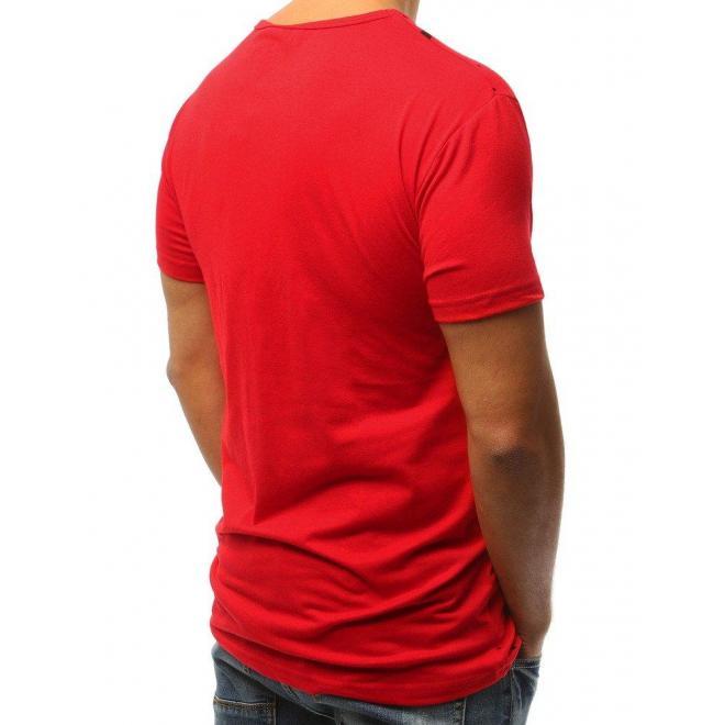 8d0b32b748bd Červené štýlové tričko s potlačou pre pánov - skvelamoda.sk