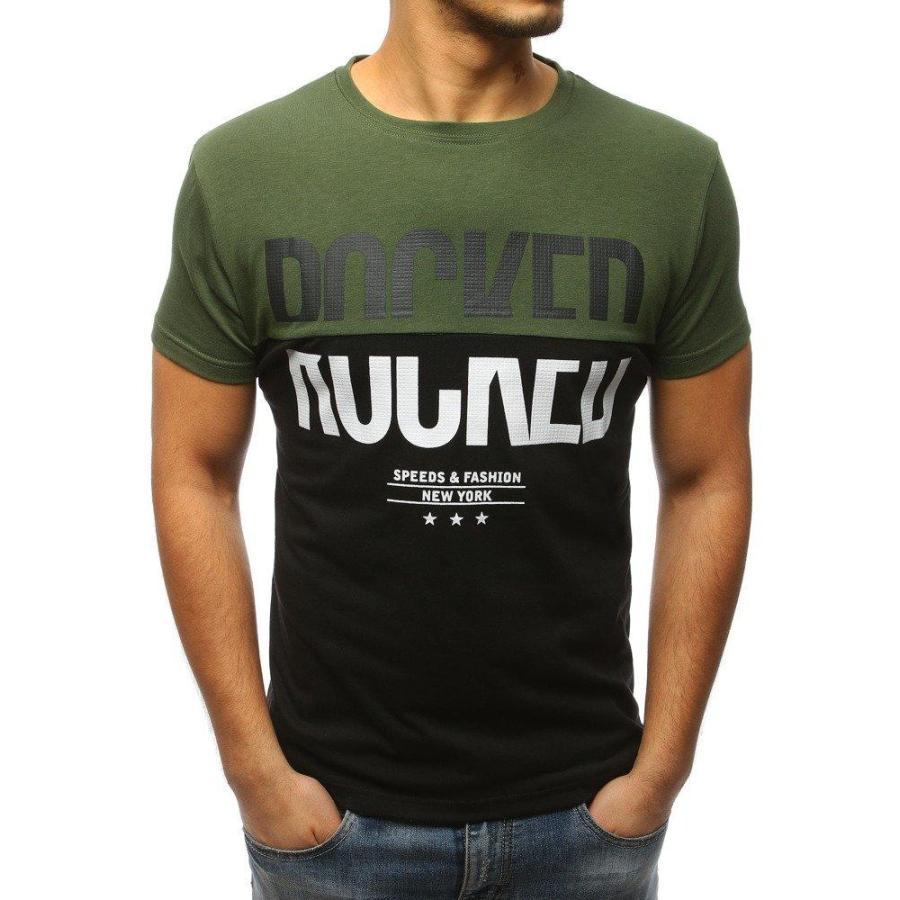 4e447cc6953e Pánske športové tričko s potlačou v zeleno-čiernej farbe - skvelamoda.sk