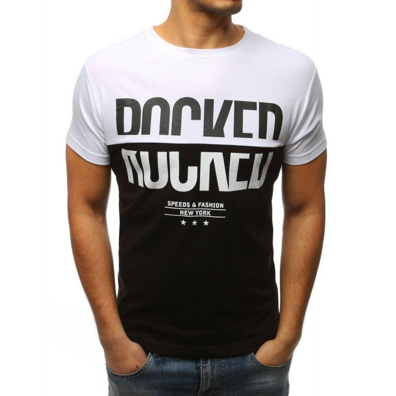 fca9392735971 Športové pánske tričko bielo-čiernej farby s potlačou - skvelamoda.sk