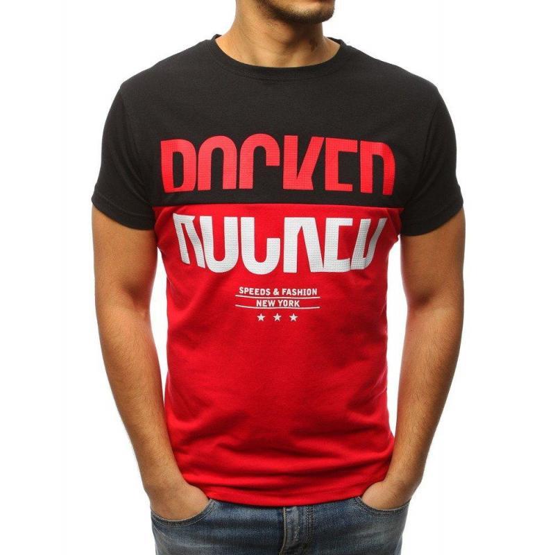 744a02d689c7 Čierno-červené športové tričko s potlačou pre pánov - skvelamoda.sk