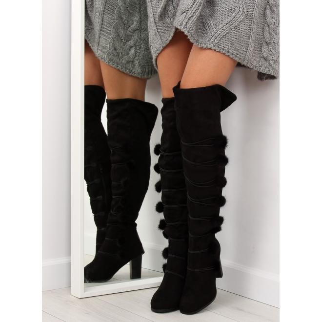 f6d1ab0a6367 Dámske elegantné čižmy nad kolená na opätku v čiernej farbe v zľave ...
