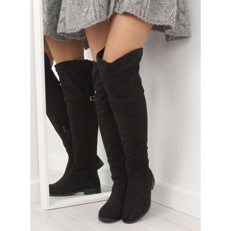 d06f7ebffbed Čierne klasické čižmy nad kolená s prackou pre dámy v zľave ...