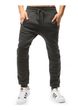 9803888ac329 Štýlové pánske tepláky čiernej farby s vložkami na kolenách ...