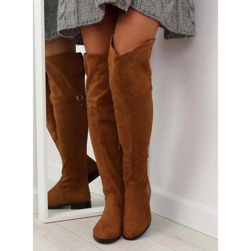 29f4301ac9b0 Klasické dámske čižmy nad kolená hnedej farby s prackou v zľave ...