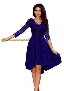 c286a8547ec Asymetrické dámske šaty bordovej farby s čipkovaným výstrihom ...