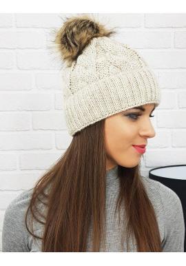 Tmavosivá zimná čiapka s pompónom pre dámy