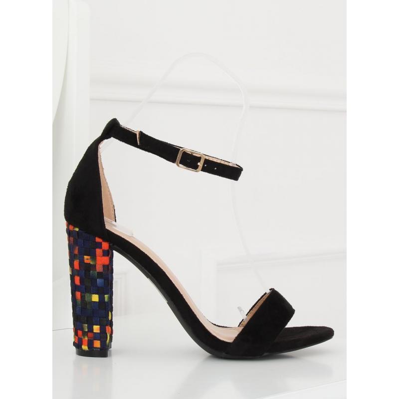 c1f5ab26c Semišové dámske sandále tmavomodrej farby na stabilnom podpätku