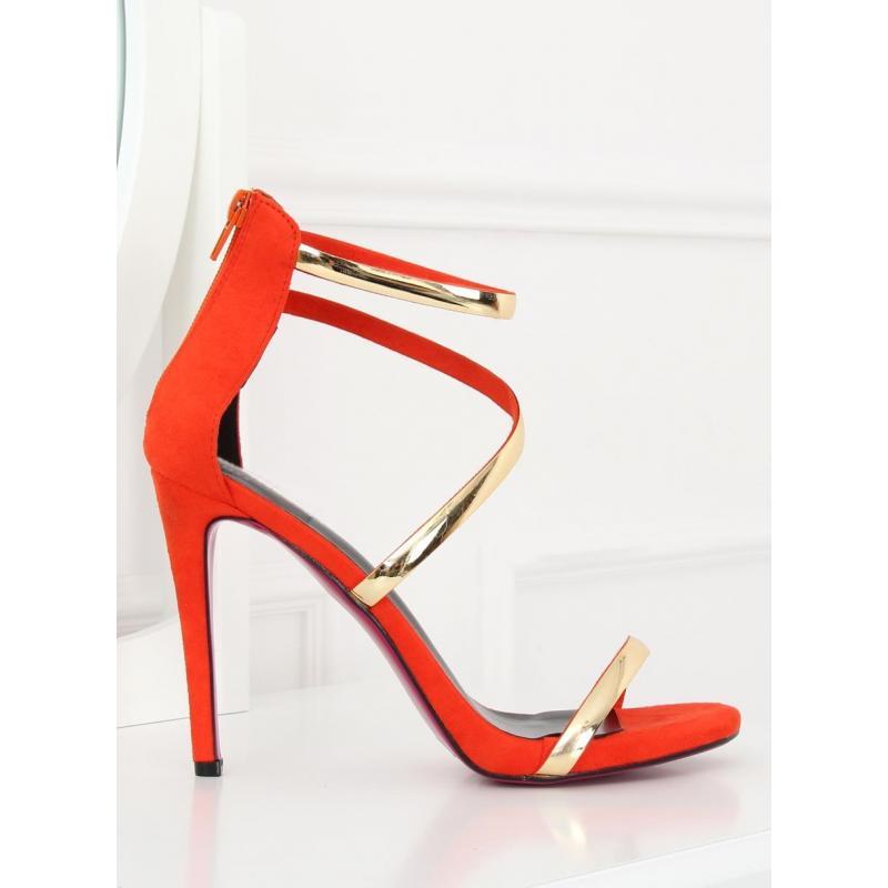 55b251f32a24 Oranžové zmyselné sandále na štíhlom podpätku pre dámy - skvelamoda.sk