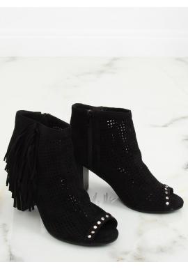 Dámske semišové topánky na podpätku s otvorenou špičkou v sivej farbe