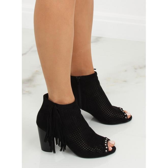 a130e1424a213 ... Dámske semišové topánky na podpätku s otvorenou špičkou v sivej farbe  ...