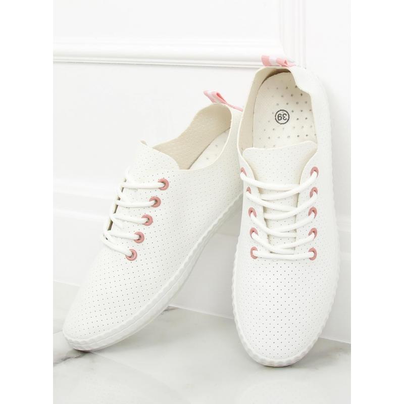 c81fe6cddf Dámske módne tenisky v bielo-ružovej farbe s dierkami - skvelamoda.sk