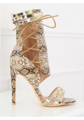 Štýlové dámske topánky čiernej farby na podpätku s motívom hadej kože