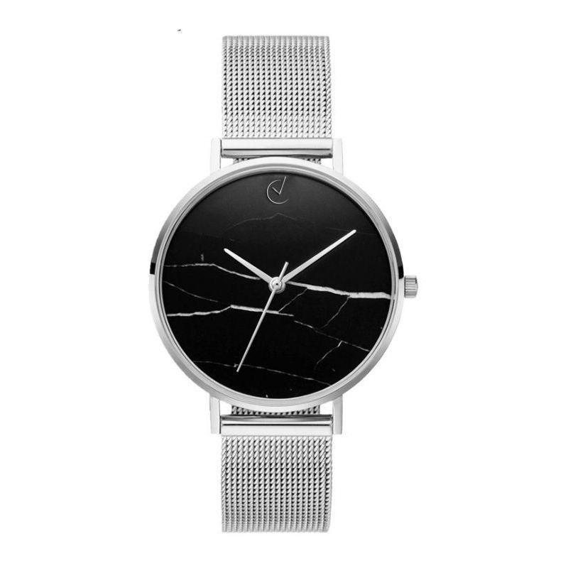 Elegantné dámske hodinky striebornej farby s čiernym ciferníkom ... bcc4da6cfac