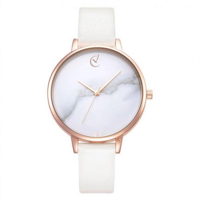 Módne dámske hodinky bielej farby s ružovo-zlatým ciferníkom ... a14c005a03