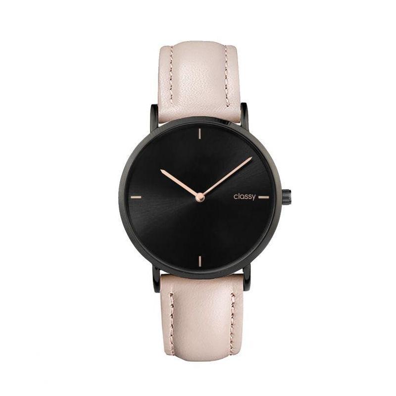 Dámske elegantné hodinky s čiernym ciferníkom v béžovej farbe ... d70d2edea5