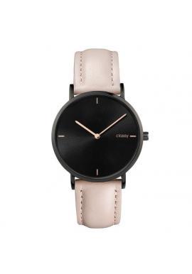 Béžové elegantné hodinky s ružovo-zlatým ciferníkom pre dámy