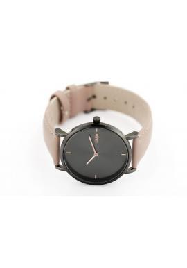 Dámske elegantné hodinky s čiernym ciferníkom v béžovej farbe