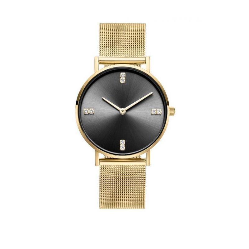 Dámske elegantné hodinky s čiernym ciferníkom v ružovo-zlatej farbe. Loading  zoom ec65c3fb3c4