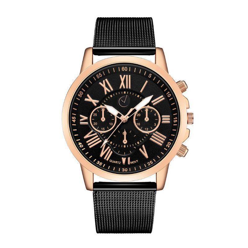 4e7c26702 ... kovovom remienku v čiernej farbe. Dámske elegantné hodinky s čiernym  ciferníkom v ružovo-zlatej farbe