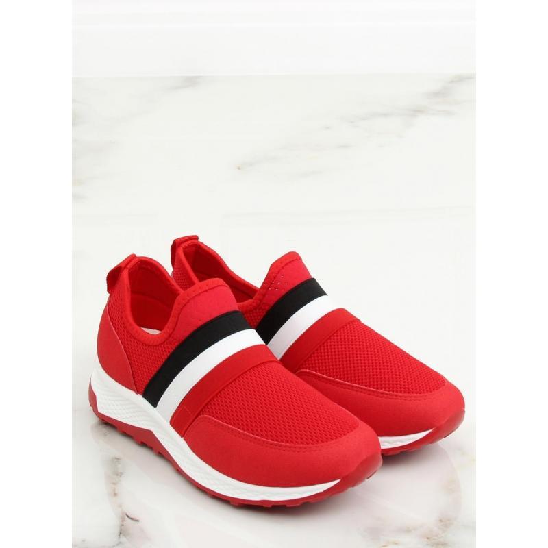 9f22ed21bd Dámske štýlové tenisky s kontrastnými pásmi v červenej farbe ...