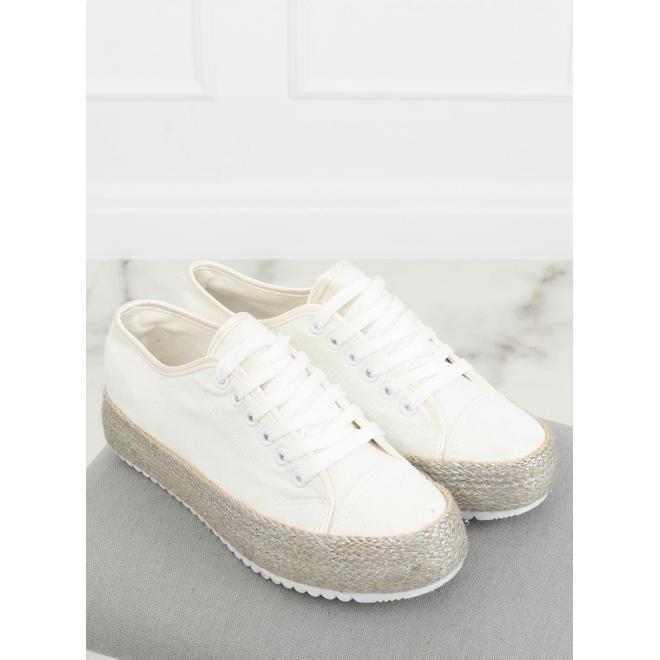 Biele semišové tenisky na vysokej podrážke pre dámy - skvelamoda.sk 356a9f4e696