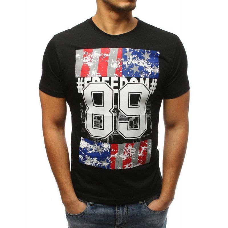 be757c6f690b Pánske štýlové tričká s potlačou v čiernej farbe - skvelamoda.sk