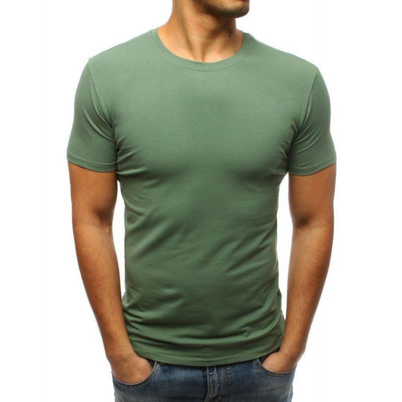 f5b10ba06419 Pánske klasické tričko s krátkym rukávom v zelenej farbe. Pánske štýlové  tričko s potlačou v bielej farbe