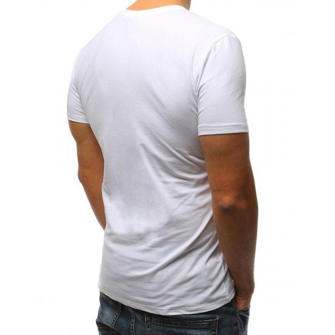 94021a1e7e80 Klasické pánske tričko bielej farby s krátkym rukávom - skvelamoda.sk