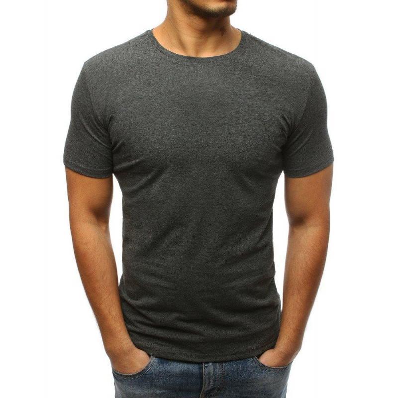 481909019a26 Pánske klasické tričko s krátkym rukávom v tmavosivej farbe ...