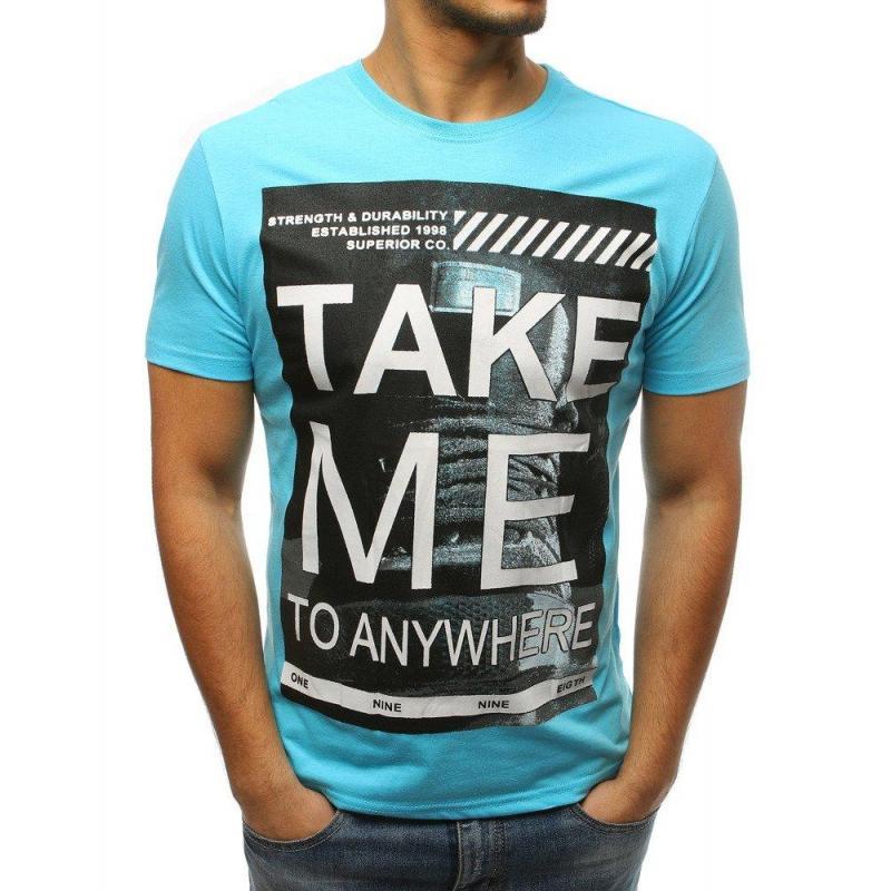 76a684c0f2a6 Módne pánske tričko svetlomodrej farby s potlačou - skvelamoda.sk